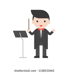 Band master and music stand, Set Profession character of people in uniform, flat design