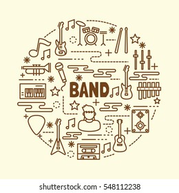band minimal thin line icons set, vector illustration design elements
