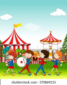 Band playing at the circus illustration