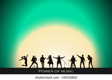 Band show on turquoise sunset background. Festival concept. Set of silhouettes of musicians, singers and dancers. Vector illustration