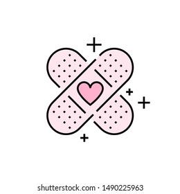 Bandage-Symbol. rosafarbenes Gipssymbol. Herzzeichen der ersten Hilfe. Vektorgrafik-Zeilensymbol.