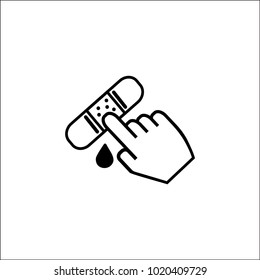 Bandage on finger. Broken, cut, damaged finger. Vector illustration flat design. Concept healthcare, provision first aid. Accident, plaster on hand. Bandaged wound. Drop of blood.