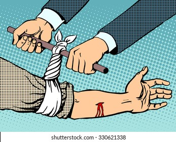 Bandage to stop the bleeding after being wounded pop art retro style. Manual rescue hand blood