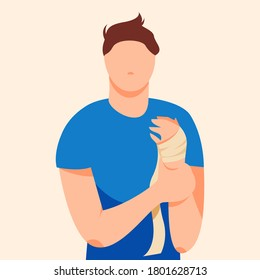 Bandaged man holding a sore hand vector illustration. Hand fracture, cut, scratch, sprain, joint dislocation. Self-help in the case of sports injuries in flat cartoon style.