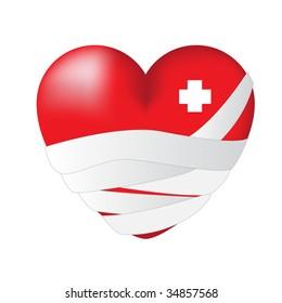 bandaged wounded heart