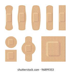 Bandages various sizes body color on a white background