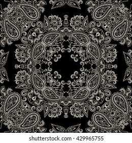 Bandana black and white. Traditional ornamental ethnic  pattern with paisley and flowers. Vector print square.