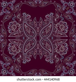 Bandana burgundy. Traditional ornamental ethnic  pattern with paisley and flowers. Vector print square.