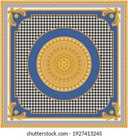 Bandana, pocket square range print on a black and white chicken feet pied-de-poule pattern background, with blue and beige frames, Gold cables, Meanders, Greek leaf and egg  frieze, Baroque scrolls