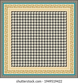 Bandana print on a beige and turquoise chicken feet pied-de-poule pattern background, Gold cables, Greek Meanders. Scarf, neckerchief, kerchief, carpet, rug, mat. 4 pattern brushes in the palette