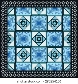 Bandana Print, silk neck scarf or kerchief square pattern design style for print on fabric, vector illustration.