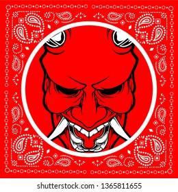 bandana red skull demon