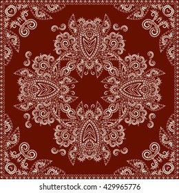 Bandana red and white. Traditional ornamental ethnic  pattern with paisley and flowers. Vector print square.