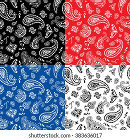 Bandana Seamless Pattern: Seamless bandana pattern in 4 color versions.