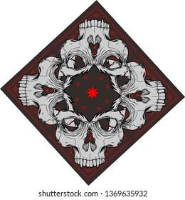 bandana with skull - Vector