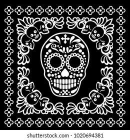 bandana with sugar skull