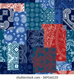 Bandanna fabric patchwork, vector seamless pattern in custom colors