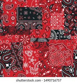 bandanna kerchief fabric patchwork vector seamless patterns