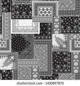 Bandanna patchwork pattern on black