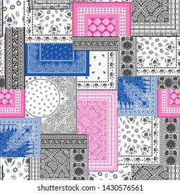 Bandanna patchwork pattern on white