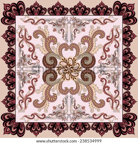 38f2d514a4f9 bandanna in pink and burgundy tones,in vintage style, with large and small  curls