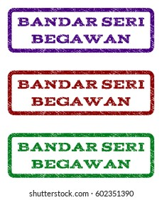 Bandar Seri Begawan watermark stamp. Text tag inside rounded rectangle frame with grunge design style. Vector variants are indigo blue, red, green ink colors. Rubber seal stamp with dirty texture.