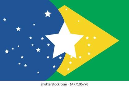 Bandeira do Brasil artística (Artistic brazil flag in portuguese) vector illustration