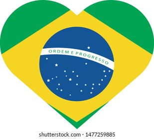 Bandeira do Brasil em coração (Brazil flag heart in portuguese) vector illustration
