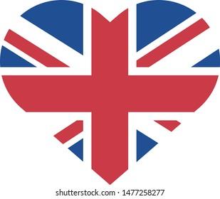 Bandeira do Reino Unido em coração (United Kingdom flag heart in portuguese) vector illustration
