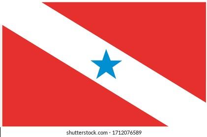 Bandeira oficial do Para, PA, estado do Brasil (Official flag of Para, PR, state of Brazil in portuguese). Vector illustration.