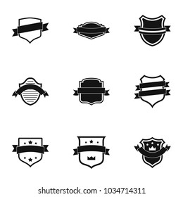 Banderole icons set. Simple set of 9 banderole vector icons for web isolated on white background