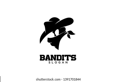 Bandit Cowboy with Scarf Mask illustration