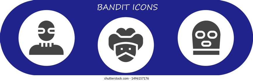 bandit icon set. 3 filled bandit icons.  Simple modern icons about  - Burglar, Bandit, Balaclava