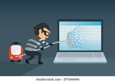 bandit robbery password and data for computer with vacuum. Concept hacking computer