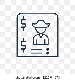 Bandit vector outline icon isolated on transparent background, high quality linear Bandit transparency concept can be used web and mobile