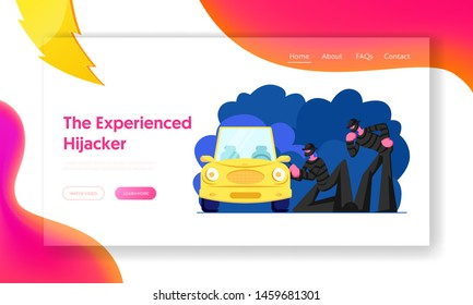 Bandits Stealing Auto Website Landing Page, Couple of Masked Hijackers Trying to Break Into Car. Male Characters Committing Crime at Night Time, Web Page. Cartoon Flat Vector Illustration, Banner