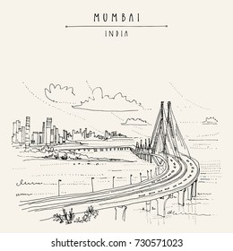 Bandra-Worli Sealink (Rajiv Gandhi Sea Link), a cable-stayed vehicular bridge in Mumbai (Bombay), India. Cityscape sketch. Travel art. Vintage hand drawn postcard in vector