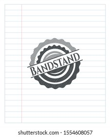 Bandstand drawn in pencil. Vector Illustration. Detailed.