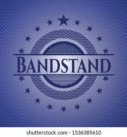 Bandstand emblem with jean high quality background. Vector Illustration. Detailed.