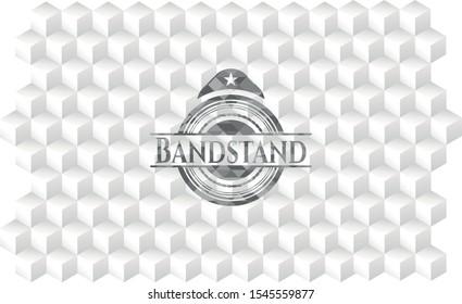 Bandstand retro style grey emblem with geometric cube white background