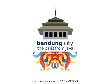 Bandung Icon Landmark with Colourfull Floral Ornaments