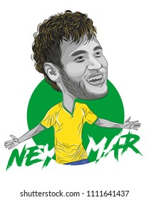 Bandung, Indonesia 14 June 2018: Neymar da Silva Santos Junior, professional footballer for Brasil national team