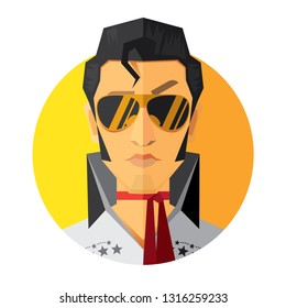 "Bandung Indonesia, February 18th 2019, Elvis Presley, American singer and actor, he is often referred to as the ""King of Rock and Roll"""