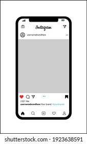 BANDUNG, INDONESIA - FEBRUARY 24th 2021 - Instagram post template on a transparent background