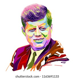 Bandung Indonesia,August 25, 2018 : Colorful Portrait John F Kennedy Politician 35th President of the United States on pop Art Geometric style