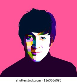 Bandung Indonesia,August 25, 2018 : portrait john lennon on pop art style isolated.