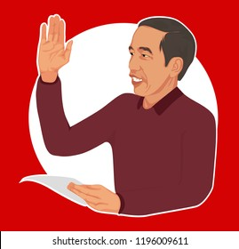 Bandung,Indonesia- October 06 2018 : Joko Widodo is President of Republic Indonesia