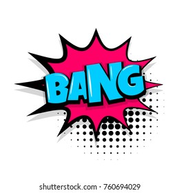 bang boom, gun Comic text speech bubble balloon. Pop art style wow banner message. Comics book font sound phrase template. Halftone dot vector illustration funny colored design.