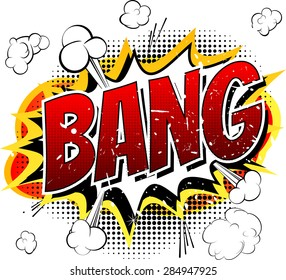 Bang - Comic book, cartoon explosion isolated on white background.