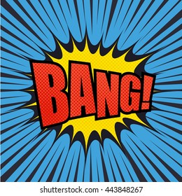 Bang comic bubble text with halftone effect. Pop art style. Radial lines background. Explosion vector illustration